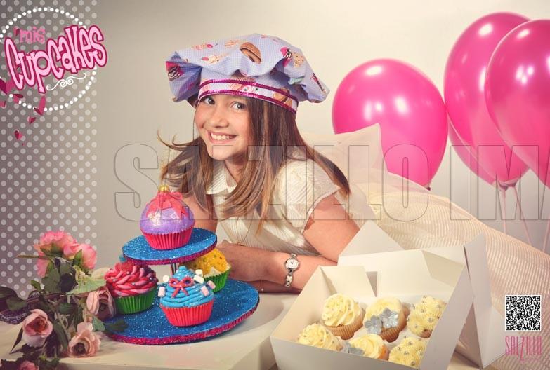 Niña - Cup cakes - Fotografía de estudio